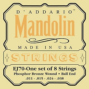 D'Addario EJ70 Phosphor Bronze Ball End Mandolin Strings by DAddario