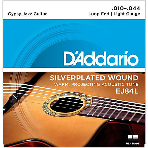 D'Addario EJ84L Gypsy Jazz Silver Wound Loop End Light Guitar Strings-thumbnail