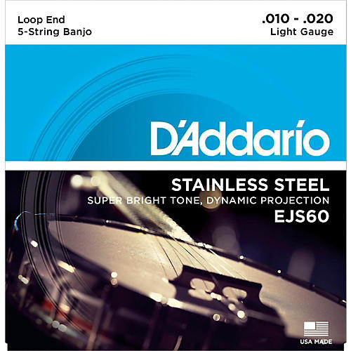 D'Addario EJS60 Stainless Steel Light 5-String Banjo Strings (9-20)-thumbnail