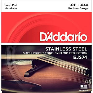 D'Addario EJS74 Stainless Steel Medium Mandolin Strings 11-40 by DAddario