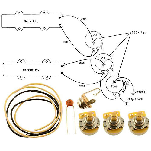 Allparts EP-4129-000 Wiring Kit for Jazz Bass-thumbnail