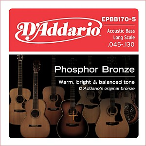 D'Addario EPBB170-5 Phosphor Bronze, Long-Scale, 5 String Acoustic Bass Gui... by DAddario