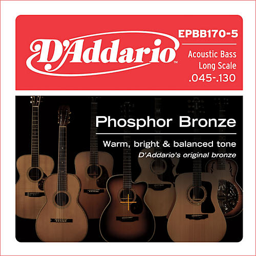 D'Addario EPBB170-5 Phosphor Bronze, Long-Scale, 5-String Acoustic Bass Guitar Strings-thumbnail