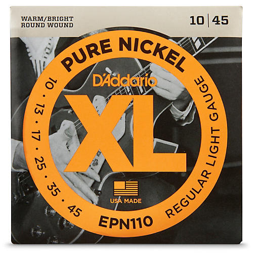 D'Addario EPN110 Pure Nickel Electric Guitar Regular Light Strings-thumbnail