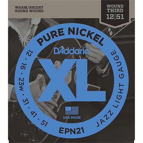 D'Addario EPN21 Pure Nickel Jazz Lite Electric Guitar Strings-thumbnail