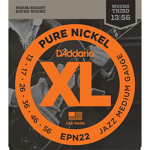 D'Addario EPN22 Pure Nickel Jazz Medium Electric Guitar Strings-thumbnail