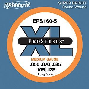 Daddario EPS160-5 Pro Steels Medium Gauge Long Scale 5 String Bass Strings by D'Addario