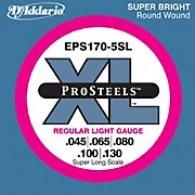 D'Addario EPS170-5SL  XL ProSteels Regular Light Super Long Scale 5-String Bass Strings