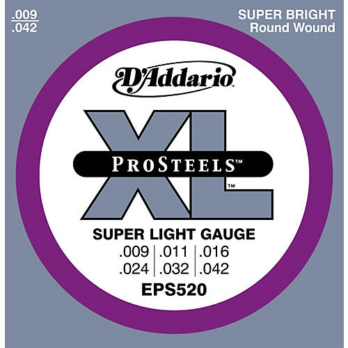 D'Addario EPS520 ProSteels Super Light Electric Guitar Strings-thumbnail