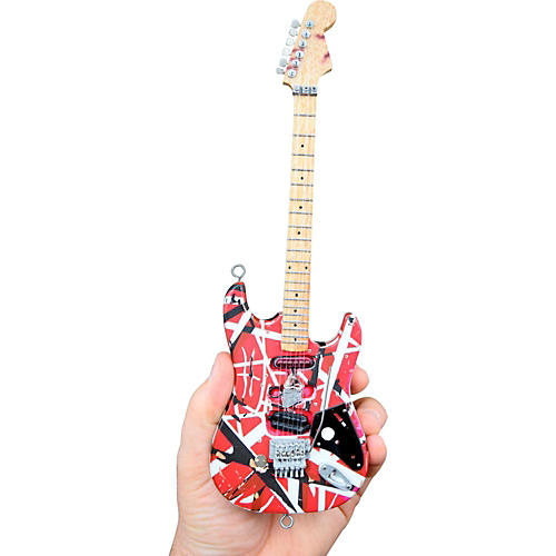 Unique Engineering EVH Frankenstein (Red and White) Miniature Replica Guitar - Van Halen Approved-thumbnail