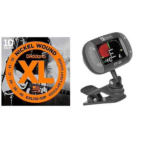 d 39 addario exl110 10p with a deltalab clip on tuner guitar center. Black Bedroom Furniture Sets. Home Design Ideas