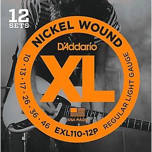 Daddario EXL110-12P Nickel Wound Light Electric Guitar String 12 Pack by D'Addario