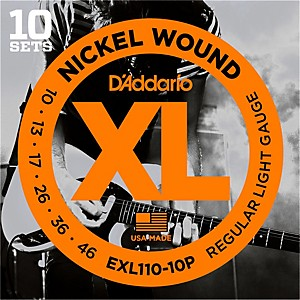 Daddario EXL110 Nickel Light Electric Guitar Strings 10 Pack by D'Addario