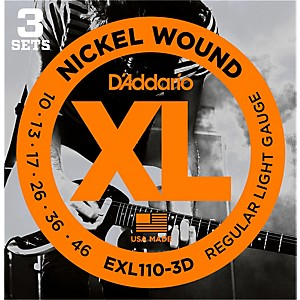 Daddario EXL110 Nickel Light Electric Guitar Strings 3 Pack by D'Addario