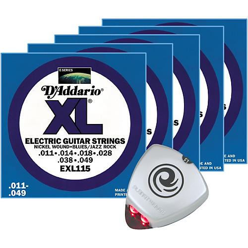D'Addario EXL115 Jazz/Blues Electric Guitar Strings 5-Pack with Free Strobe Tuner