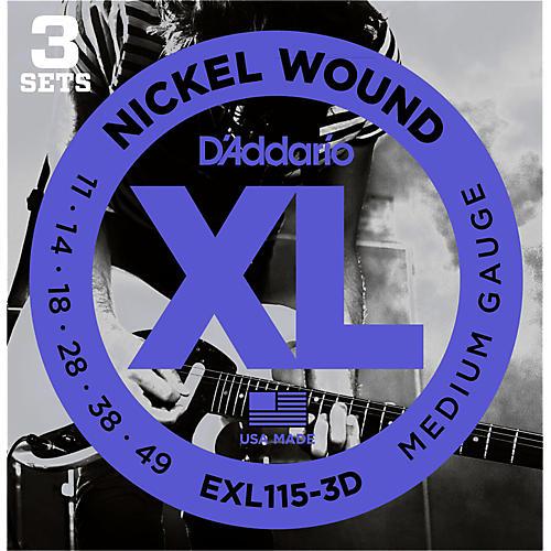 D'Addario EXL115 Nickel Blues/Jazz Electric Guitar Strings 3-Pack
