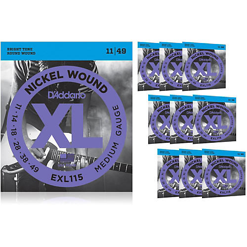 D'Addario EXL115BT Balanced Tension Medium Electric Guitar Strings 10 Pack