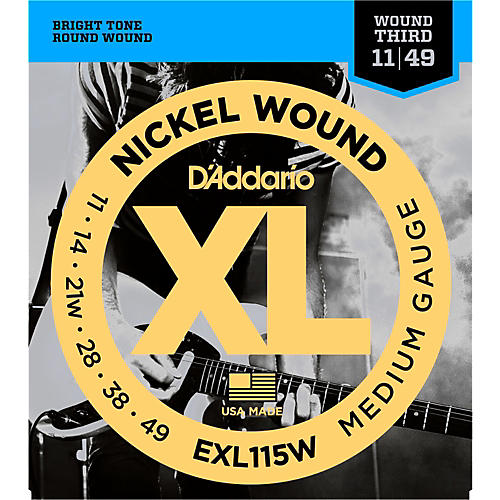 D'Addario EXL115W Nickel Blues/Jazz Wound 3rd Electric Guitar Strings-thumbnail