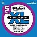 D'Addario EXL120-5P Electric Guitar Strings Super Light thumbnail
