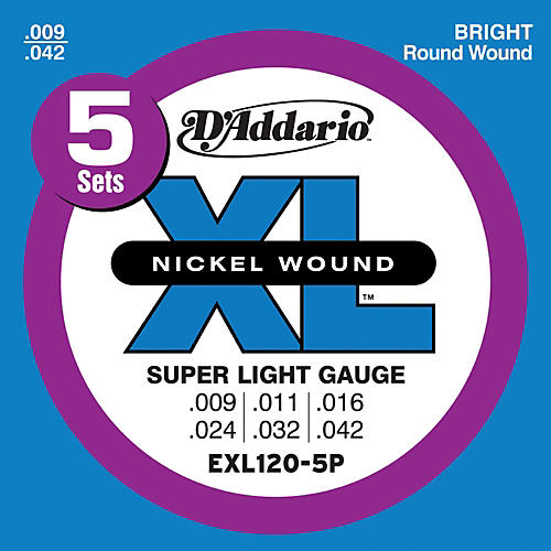 D'Addario EXL120-5P Electric Guitar Strings Super Light