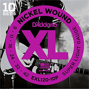 Daddario EXL120 Nickel Super Light Electric Guitar Strings 10 Pack by D'Addario