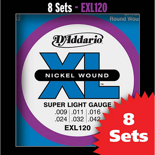 D'Addario EXL120 Super-Light Nickel Electric Guitar Strings - 8-Pack