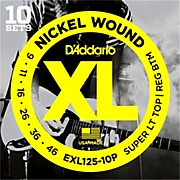 D'Addario EXL125 Super Light Top/Regular Bottom Electric Guitar Strings 10-Pack