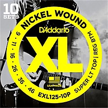 D'Addario EXL125 Super Light Top/Regular Bottom Electric Guitar Strings 10-Pack