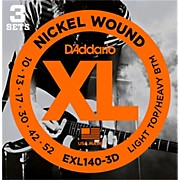 D'Addario EXL140 Light Top/Heavy Bottom Electric Guitar Strings 3-Pack
