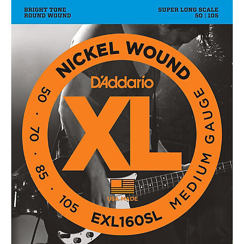 D'Addario EXL160SL Medium Nickel Wound Super Long Scale Bass Strings