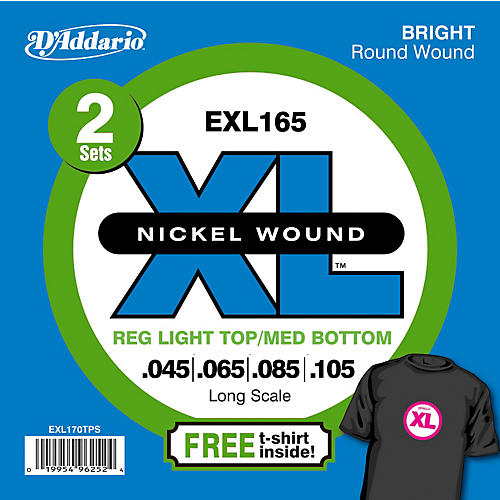 D'Addario EXL165TP Twin-Pack of Bass Guitar Strings with Free T-Shirt
