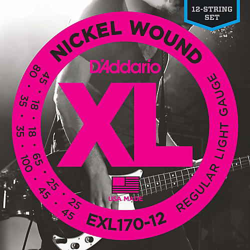 D'Addario EXL170-12 XL Light Long Scale 12-String Nickel Electric Bass Strings-thumbnail