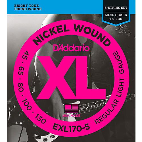 D'Addario EXL170-5 XL Nickel Round Wound 5-String Long Bass Strings-thumbnail