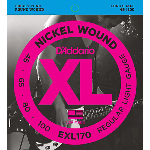 D'Addario EXL170 Nickel Wound Bright Round Wound Electric Bass Strings