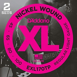 Daddario EXL170TP Round Wound Bass Guitar Strings 2 Pack by D'Addario