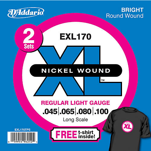 D'Addario EXL170TP Twin Pack of Bass Guitar Strings with Free T-Shirt