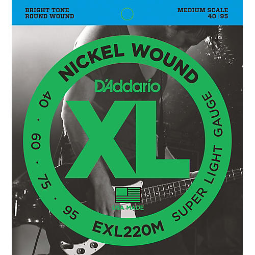 D'Addario EXL220M XL Bass Super Soft/Medium Scale Bass Strings-thumbnail