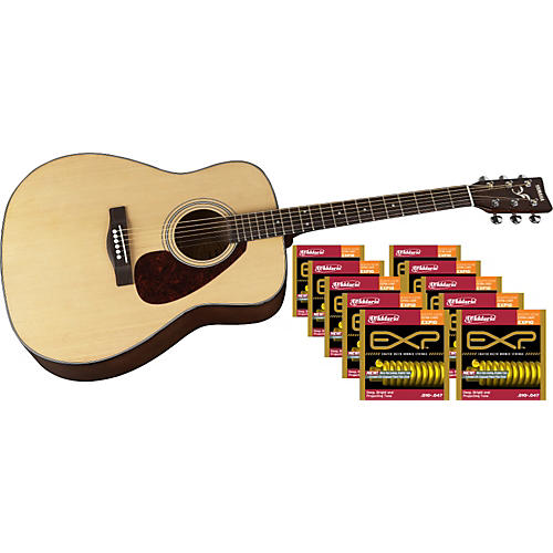 D'Addario EXP10 Coated 80/20 Bronze Extra Light Acoustic 10-Pack with Free Acoustic Guitar