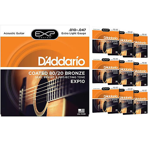 D'Addario EXP10 Coated 80/20 Bronze Extra Light Acoustic Guitar Strings  - 10 Pack-thumbnail
