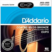 D'Addario EXP11 Coated 80/20 Bronze Light Acoustic Guitar Strings