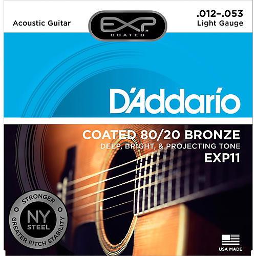 D'Addario EXP11 Coated 80/20 Bronze Light Acoustic Guitar Strings