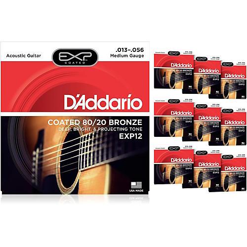D'Addario EXP12 Coated 80/20 Bronze Medium Acoustic Guitar Strings - 10 Pack-thumbnail
