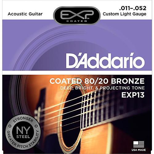 D'Addario EXP13 Coated 80/20 Bronze Custom Light Acoustic Guitar Strings-thumbnail