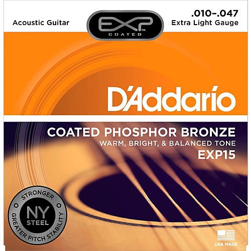 D'Addario EXP15 Coated Phosphor Bronze Extra Light Acoustic Guitar Strings-thumbnail
