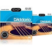 D'Addario EXP16 Coated Phosphor Bronze Light Acoustic Guitar Strings 2-Pack