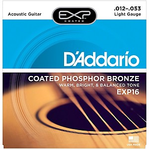Daddario EXP16 Coated Phosphor Bronze Light Acoustic Guitar Strings by D'Addario