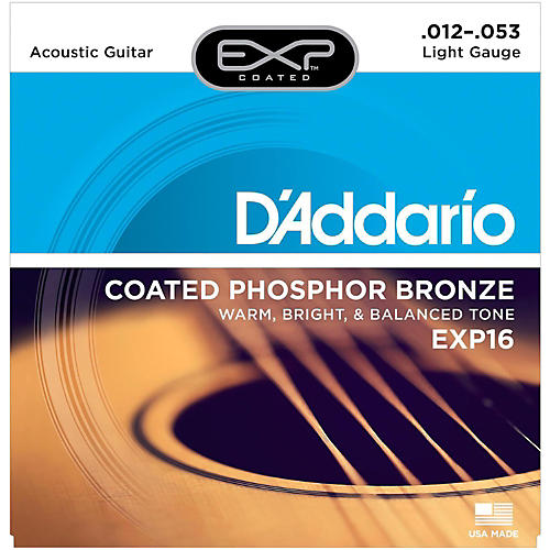 D'Addario EXP16 Coated Phosphor Bronze Light Acoustic Guitar Strings-thumbnail