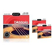D'Addario EXP17 Coated Phosphor Bronze Medium Acoustic Guitar Strings 3-Pack