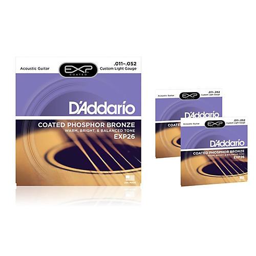 D'Addario EXP26 Coated Phosphor Bronze Custom Light Acoustic Guitar Strings 3-Pack