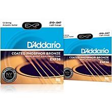 D'Addario EXP38 12-String Coated Phosphor Bronze Light Acoustic Guitar Strings 2-Pack